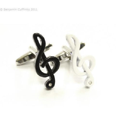 Black & White Treble Clefs Cufflinks
