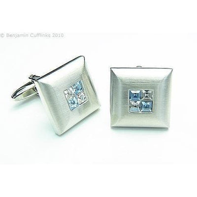Blue Crystal Four Square Cufflinks
