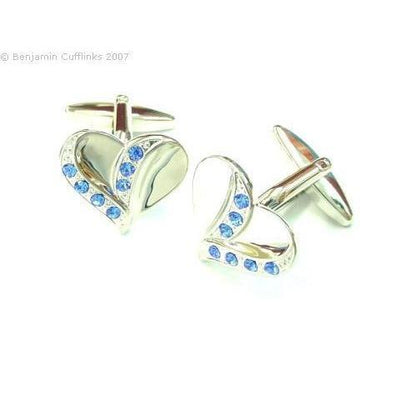 Blue Crystal Heart Cufflinks
