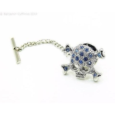 Blue Crystal Skull andCrossbone Tie Pin
