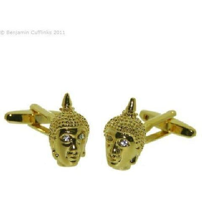 Buddha's Head Gold Plated Cufflinks