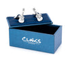 """Rock Out"" Silver Black Guitar Cufflinks"