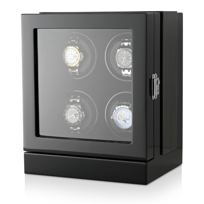 Watch Winder Box for 4 Watches in Black