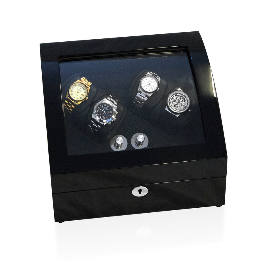 Watch Winder Box 4 + 4 Watches in Black - Carbon Fibre Interior