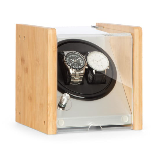 Watch Winder Box 2 Watches in Aluminium & Bamboo