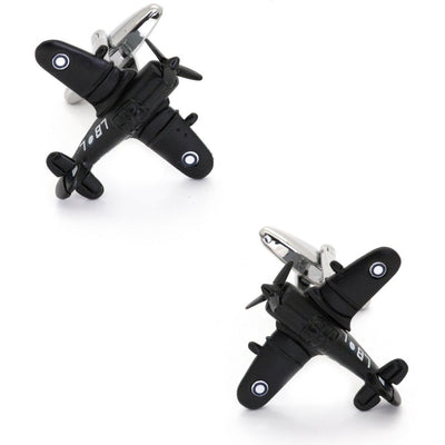 CAC Boomerang Fighter Airplane Cufflinks in Black