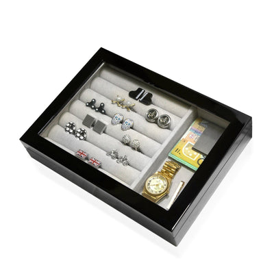 Medium Cufflink and Valet Box Black