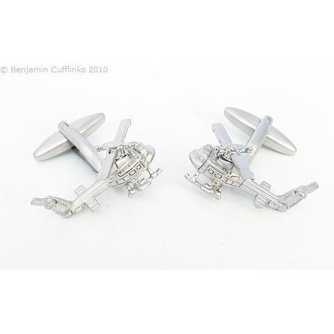 Chrome UH-1 Huey Helicopter Cufflinks