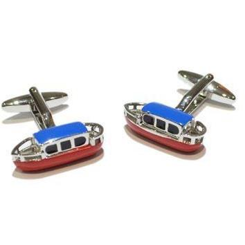 Coloured Canal Barge or Narrowboat Cufflinks
