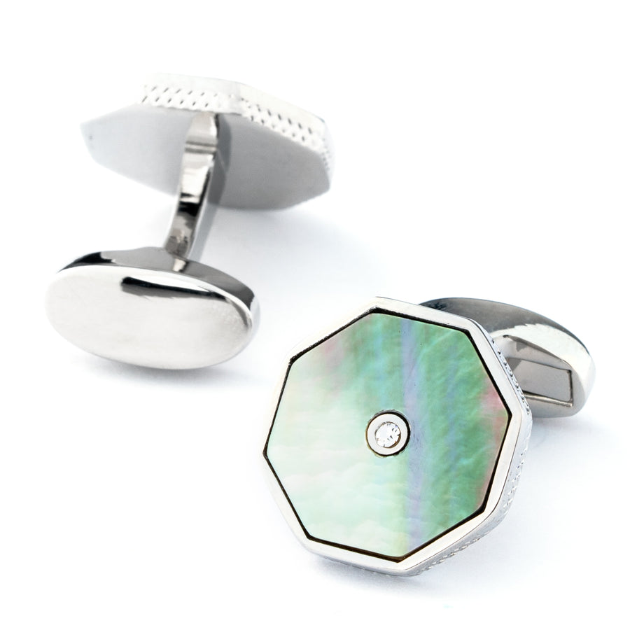 Pastel Octagon Cufflinks with Crystal