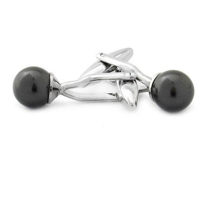 Crystal Pearl Black Cufflinks