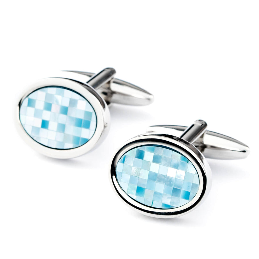 Blue Mother of Pearl Mosaic Oval Cufflinks