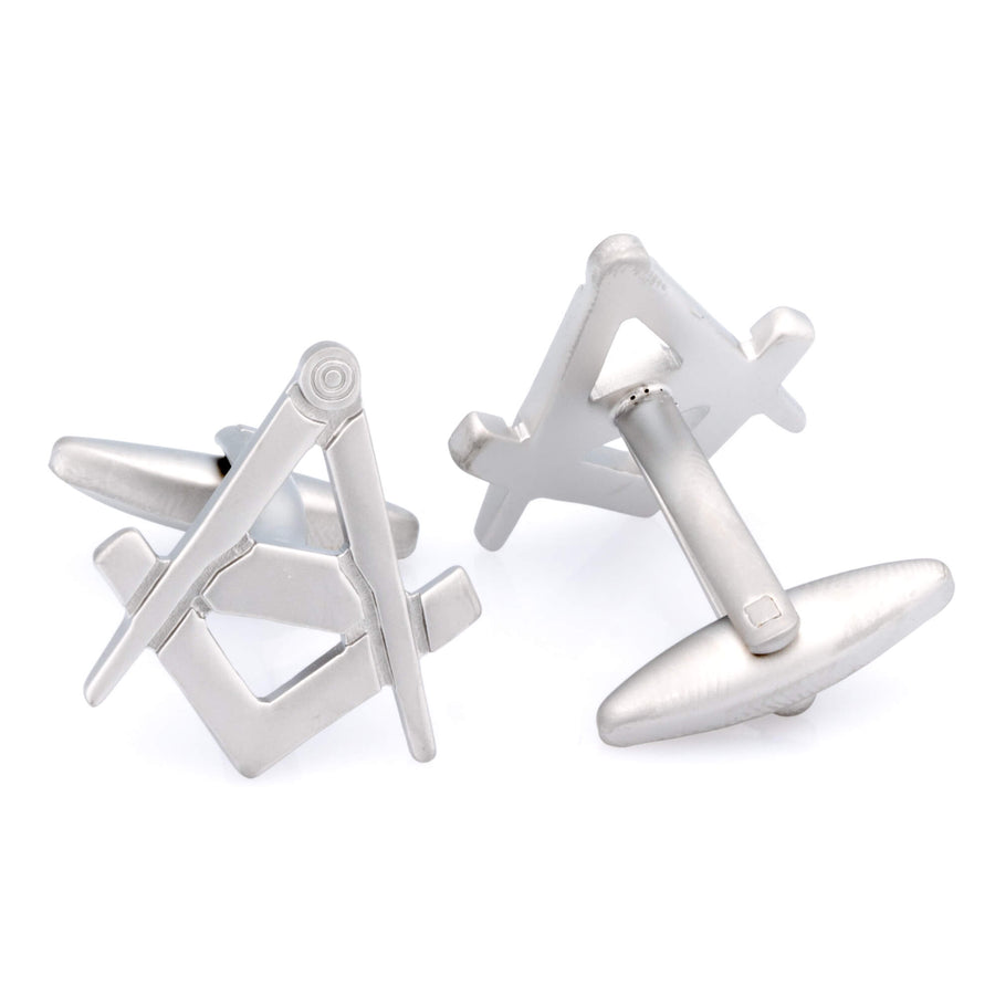 Freemason Masonic Brushed Silver Cufflinks
