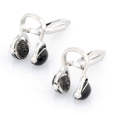 Black and Silver Headphone Cufflinks Style 2