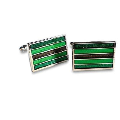 Emerald Green and Brown Stripes Cufflinks