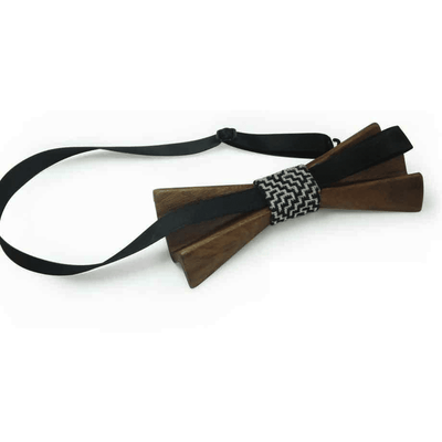 Dark Wood 3D Accordion Style Adult Bow Tie in Stars