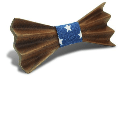 Dark Wood 3D Accordion Style Kids Bow Tie in Stars