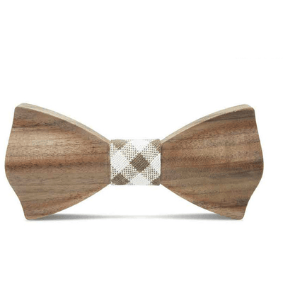 Dark Wood Check Fabric Adult Bow Tie