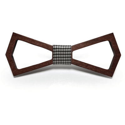 Dark Wood Outline Adult Bow Tie in Houndstooth
