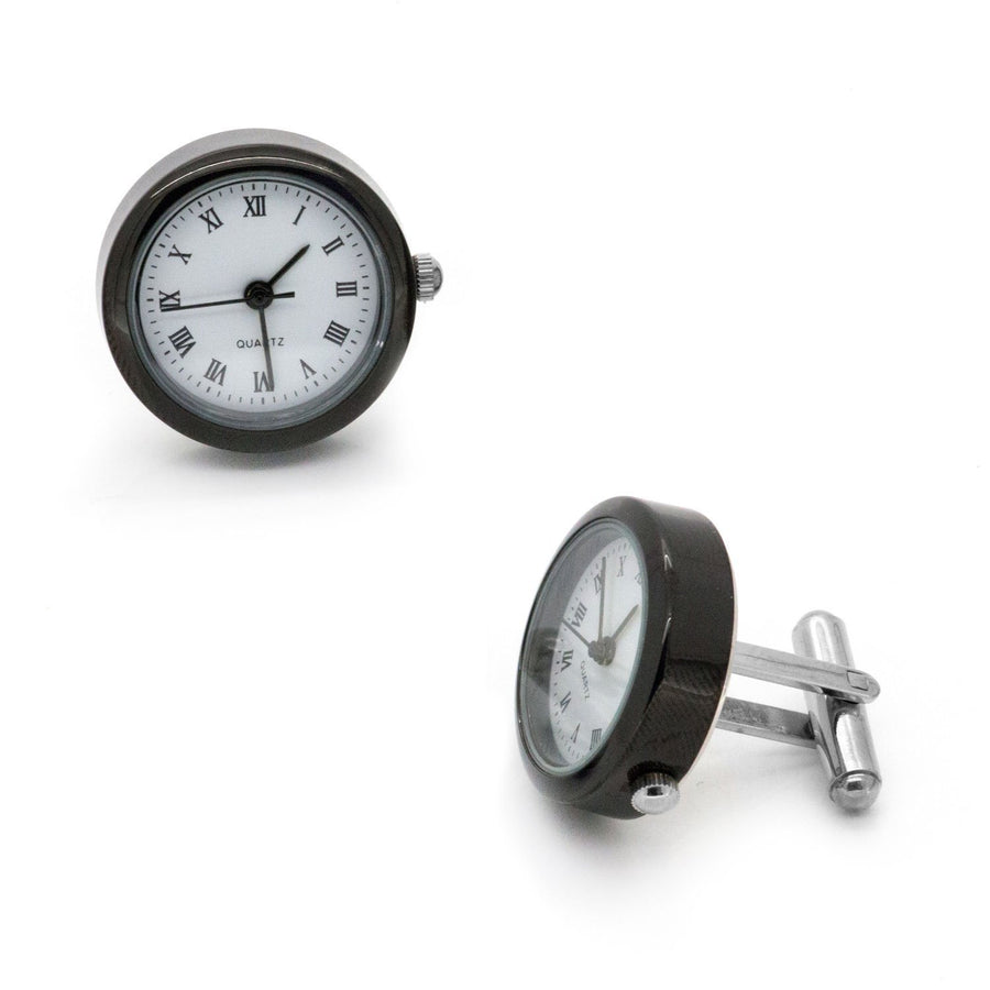 White and Gunmetal Working Quartz Watch Cufflinks