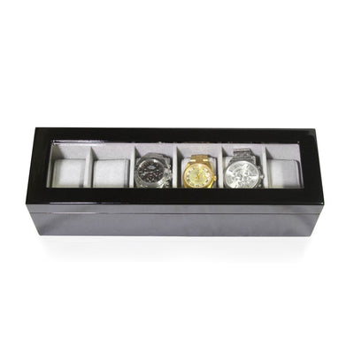 Long Watch Box with Glass Top 6 Compartments Black