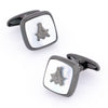Freemason Masonic Square Gunmetal Mother of Pearl Cufflinks