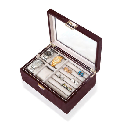 50 Pair Cufflink and Watch Box Double Decker Mahogany