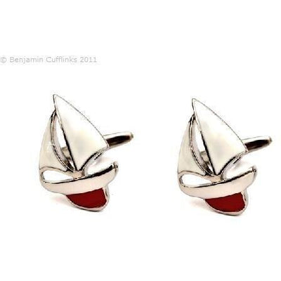 Enamel Red Keeled Yacht Cufflinks