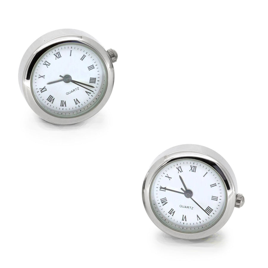 Round White Faced Working Clock Watch Cufflinks