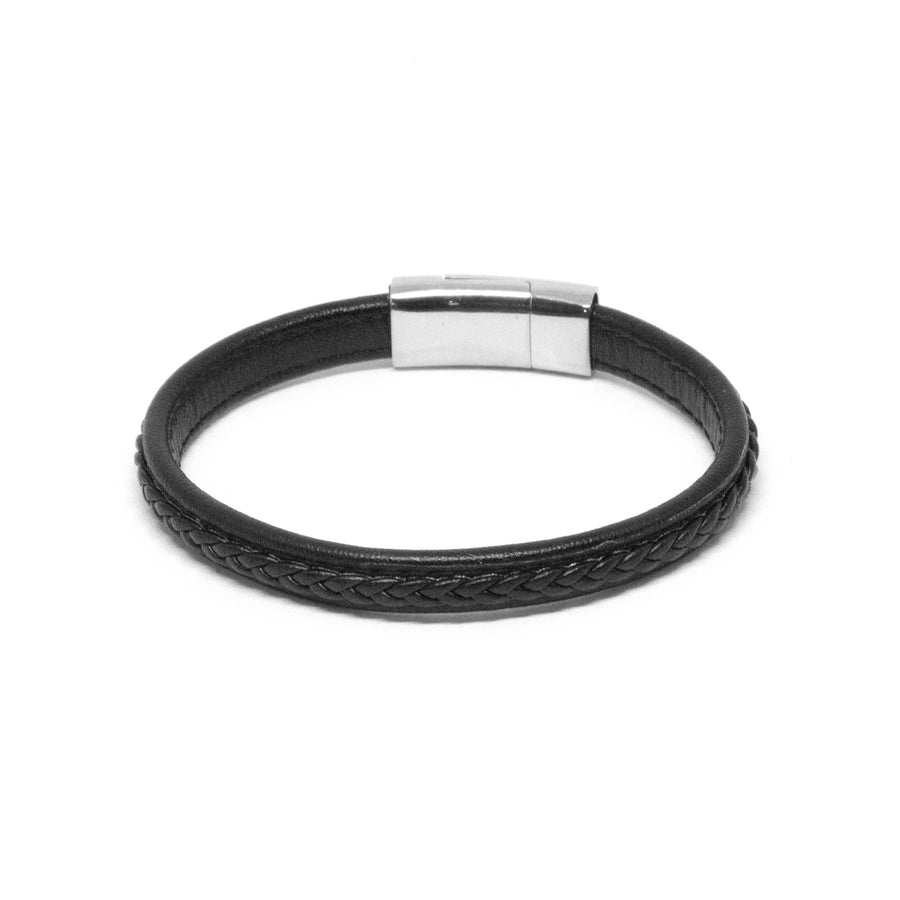 Black Leather Bracelet with SS Brick Clasp