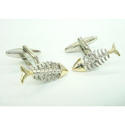 Gold Silver Fish Bone Cufflinks