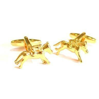 Gold Coloured Horse Racing Cufflinks
