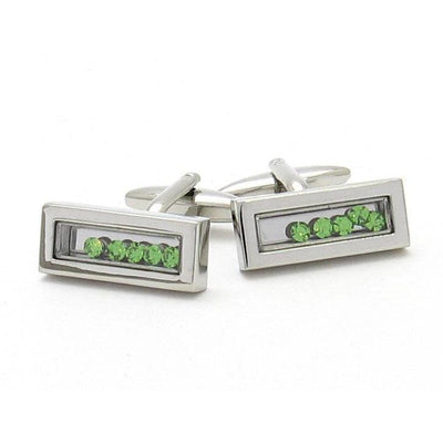 Green Flowing Crystal Cufflinks
