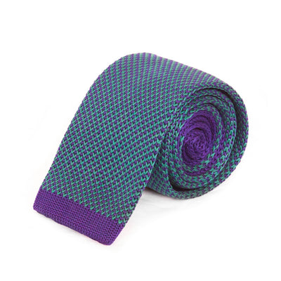 Green and Navy Weave Knitted Tie