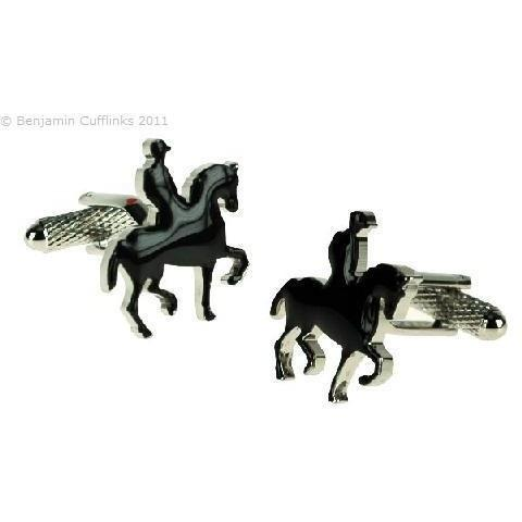 Horse and Rider Silhouette Cufflinks