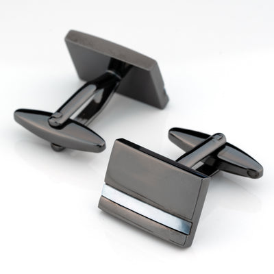 Gunmetal with Mother of Pearl Cufflinks