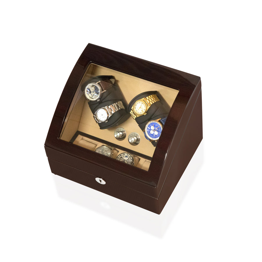 Watch Winder Box 4 + 4 Watches in Mahogany