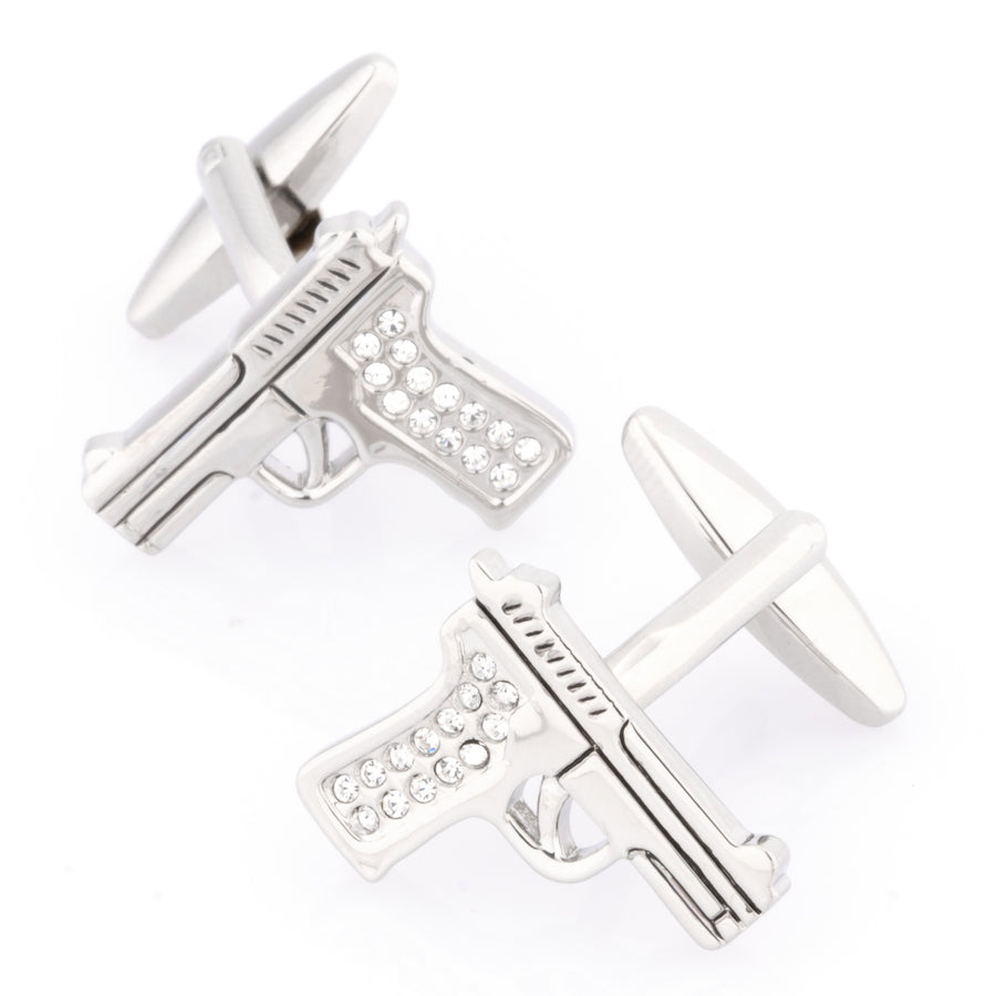 Crystal 9mm Hand Gun Cufflinks