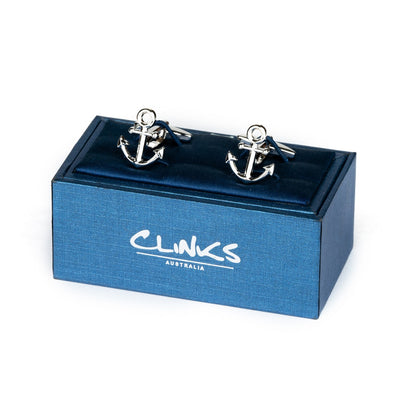 Shiny Silver Ship Anchor Cufflinks