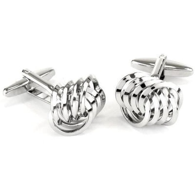 Knot Cufflink with 8 Linked Loops