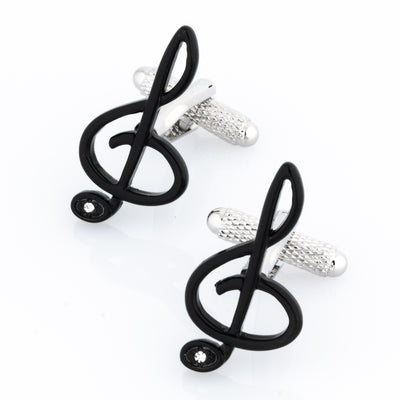 Black Treble Clef with Single Crystal
