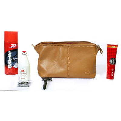 Large Leather Toiletry Dopp Bag in Tan