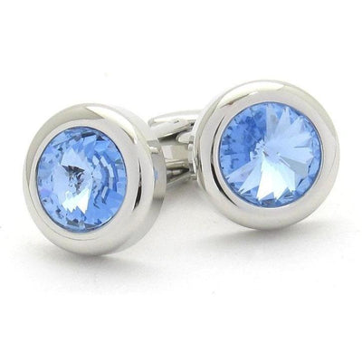 Light Blue Sapphire Crystal Cufflinks