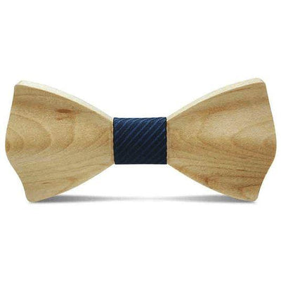 Light Wood Navy Textured Adult Bow Tie