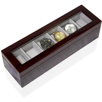 Long Watch Box with Glass Top 6 Compartments Mahogany