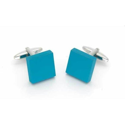 Matt Aqua Square Cufflinks