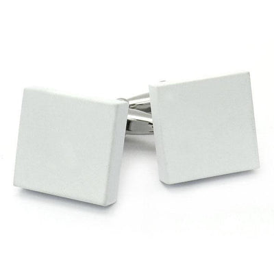 Matt White Square Cufflinks