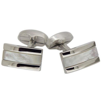 Mother of Pearl in Silver Rectangle Cufflinks