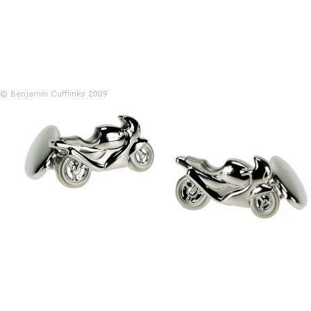 Motorbike on Chain Cufflinks - Silver Plated