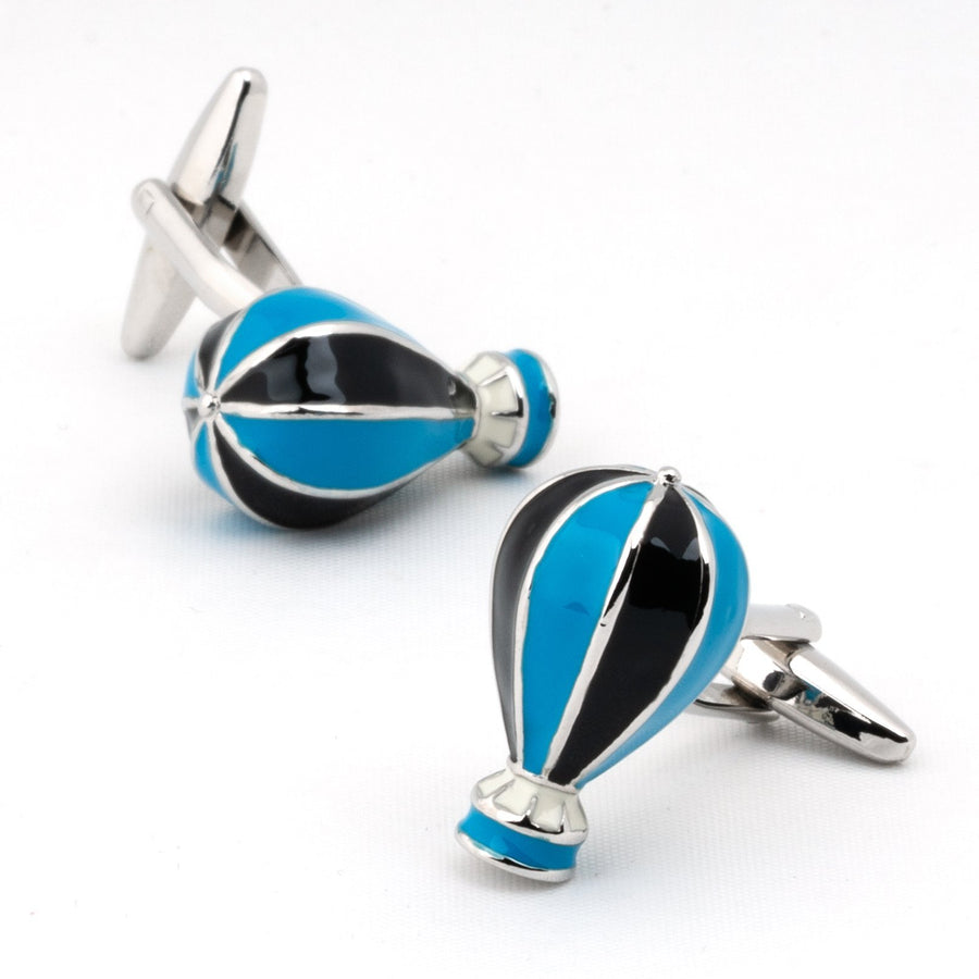 Hot Air Balloon Cufflinks Blue and Black
